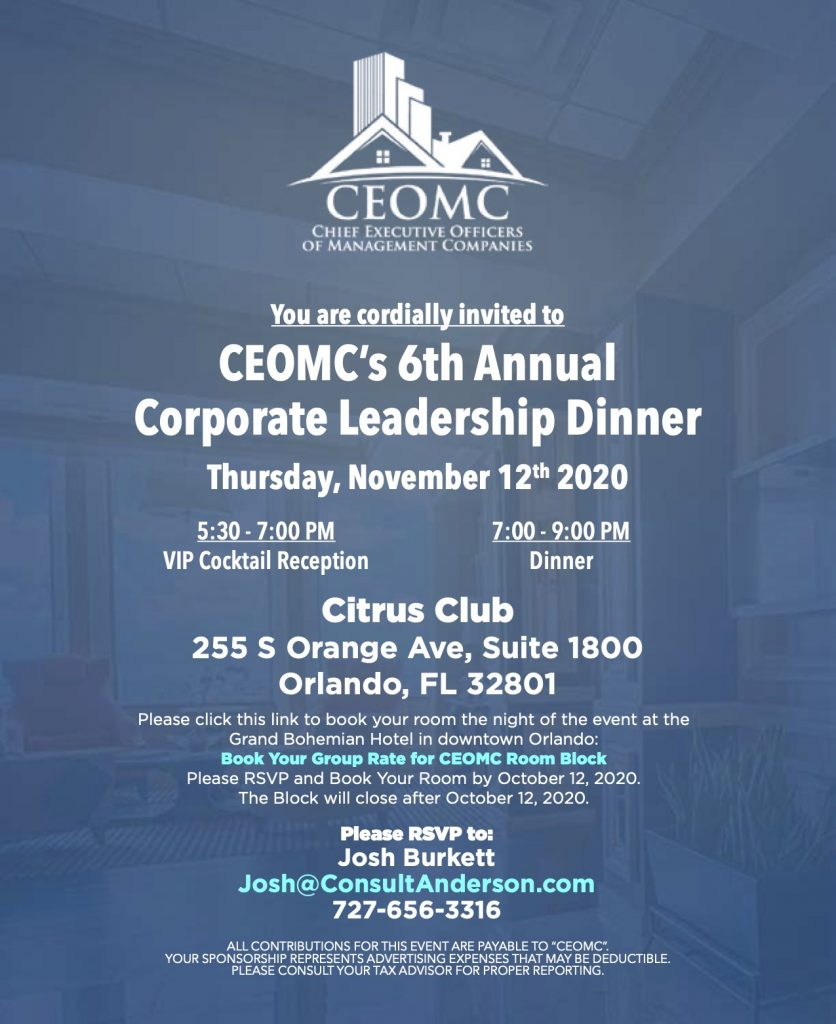 CEOMC's 6th Annual Corporate Leadership Dinner will be held on Thursday, November 12th, 2020.